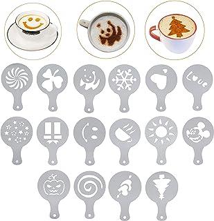 Lofekea Coffee Stencils Stainless Steel Coffee Decorating 16PCS Coffee Art Decorating Stencils Template for Birthday Cake,...