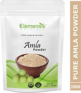 Elemensis Naturals Pure & Natural, Export Quality Amla Powder for Face, Hair Care & Scalp Treatment - (100 gm)