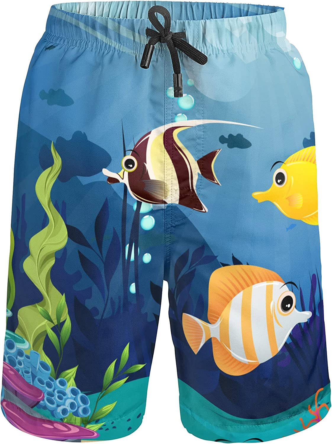 YAGUZHUI Boys Swim Trunks Drawsting Beach Surf Boards Shorts Swimsuits with Pockets Quick Dry 4T-16T