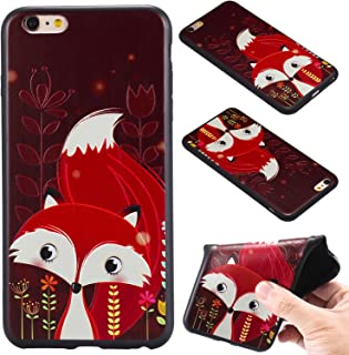MeterMall Cell Phone Sleeves for iPhone 6 plus/6S Plus Luxury 3D Relief Soft Frosted TPU Case Back Cover Red Fox iPhone 6 plus/6S Plus