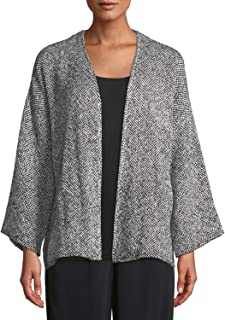 Eileen Fisher Organic Cotton Doubleweave Crinkle Round Neck Jacket Size 2X MSRP 248
