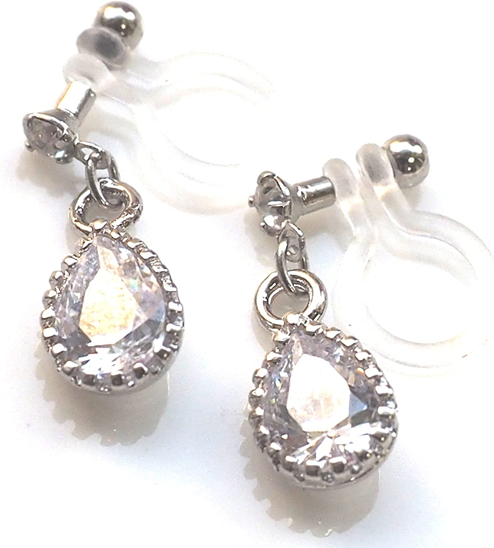 Miyabi Grace Elegant Cubic Zirconia Crystal Invisible Clip On Earrings Dangle Women Wedding Non Pierced Clip On CZ Teardrop BridalEarrings