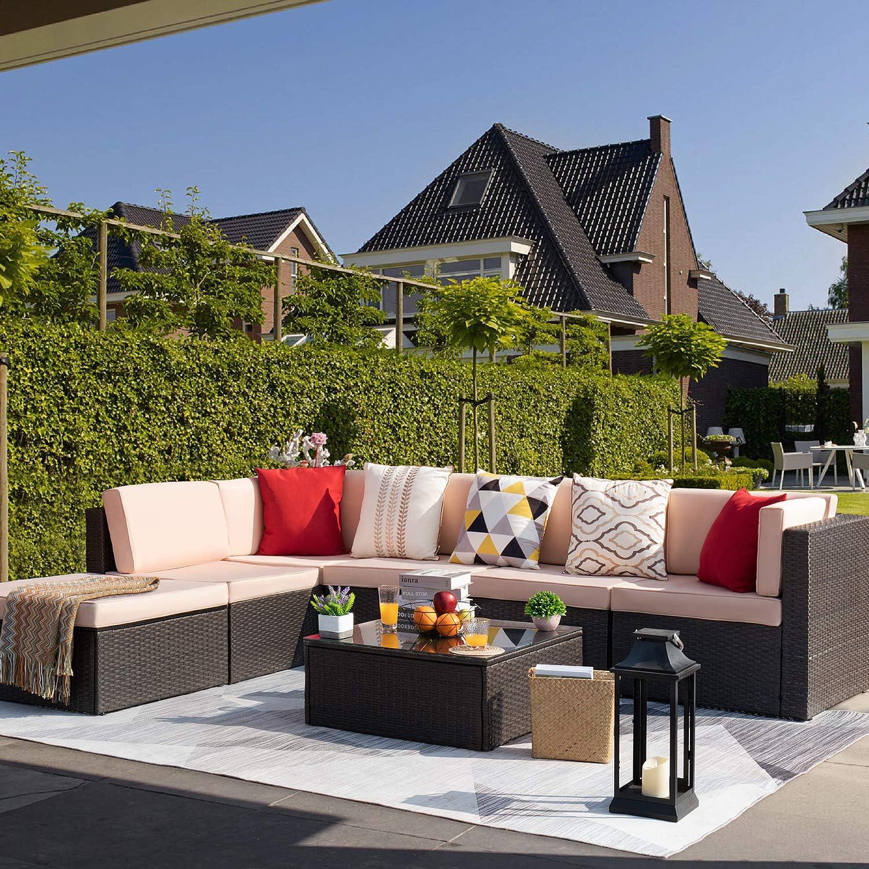 KaiMeng 7 Piece Outdoor Rattan Sofa Dealing full price 5 popular reduction Lawn Patio Sectional Furnitu