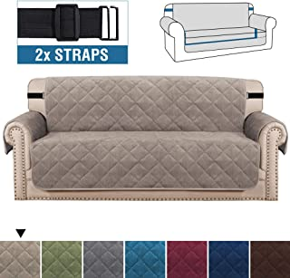 H.VERSAILTEX Sofa Cover Quilted Thick Velvet Plush Couch Cover for 3 Cushion Sofa Slipcover Protector from Pets Dogs, Non-Slip Two Elastic Straps on Back and Base (Sofa 70, Taupe)