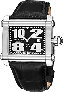 Charriol Actor Rectangular Mens Dress Watch - Black Face with Luminous Hands, Date and Sapphire