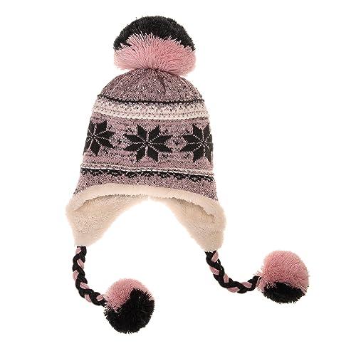 bd6b30538a4 Dosoni Women Girl Winter Hats Knit Soft Warm Earflap Hood Cozy Large  Snowflake Beani
