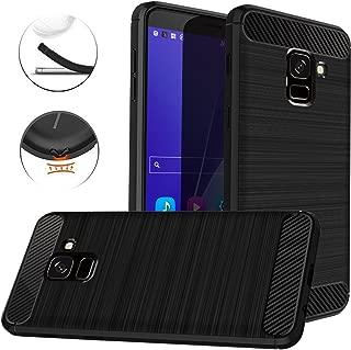 Dretal Galaxy J6 2018 Case, Carbon Fiber Shock Resistant Brushed Texture Soft TPU Phone case Anti-Fingerprint Flexible Full-Body Protective Cover for Samsung Galaxy J6 2018 (Black)