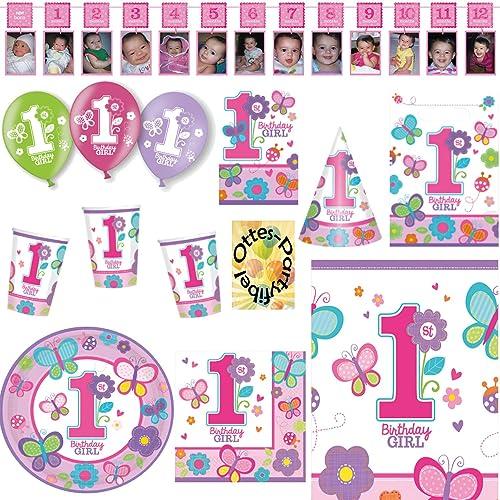 Sweet Birthday Girl 1. Geburtstag Partyset 88tlg. für 16 G e Teller Becher Servietten Einladungen Partytüten Tischdecke Fotogirlande Hütchen Luftballons