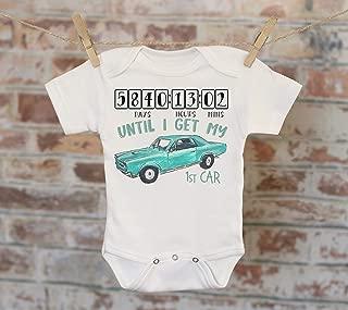 Countdown Until I Get My First Car Onesie® in Teal, Classic Car Onesie, Retro Onesie, Daddy Onesie, Boho Baby Onesie, Funny Onesie