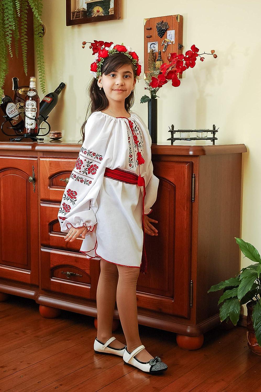 Teenager Girl's Embroidered Ukrainian Folk Dress with Belt (Height 134-164)
