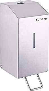 Sunera Surface Mounted Push Up Liquid Soap Dispenser with Plastic Inner Bottle Stainless Steel Satin Finish 650ml