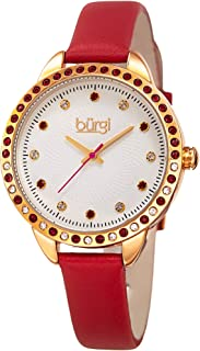 Swarovski Crystal Accented Women's Watch with Genuine Leather Skinny Strap – Studded Bezel and Dial with Embossed Pattern BUR161
