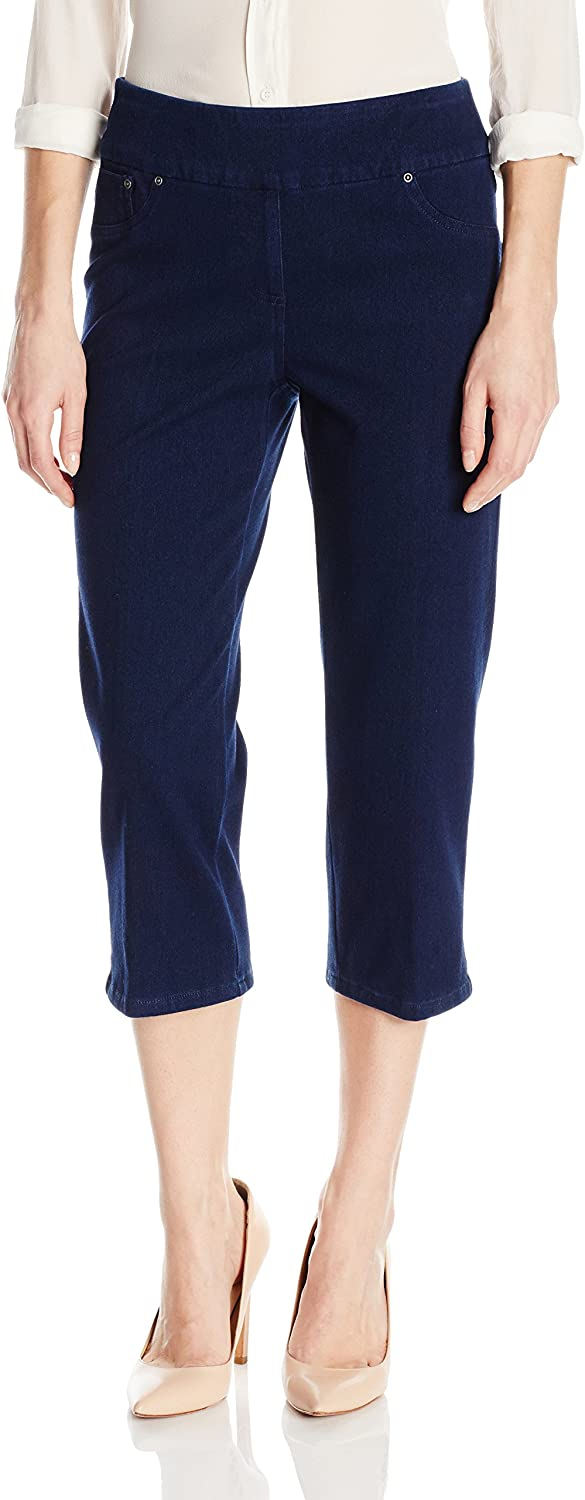 Ruby Rd. Women's Pullon IndigoDyed Stretch Knitted Twill Cropped Capri