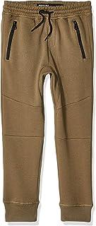 Boys' Big Fleece Jogger Pants Active Zipper Pocket Sweatpants, Olive, 7