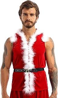 Nimiya Men's Velvet Santa Claus Hooded Coat Jacket Christmas Party Holiday Cosplay Fancy Dress