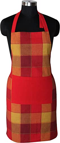 Airwill, 100% Cotton Yarn-Dyed Designer Weaved Aprons, Sized 65cm in Width & 80cm in Length with 1 Center Pocket, Adjustable Buckle on Top and 2 Long Ties On Both 2 Sides. Pack of 1 Piece product image