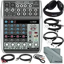 Behringer Xenyx Q802USB Premium 8-Input 2-Bus Mixer and Deluxe Bundle with Closed-Back Headphones + 7X Cables + Fibertique Cloth