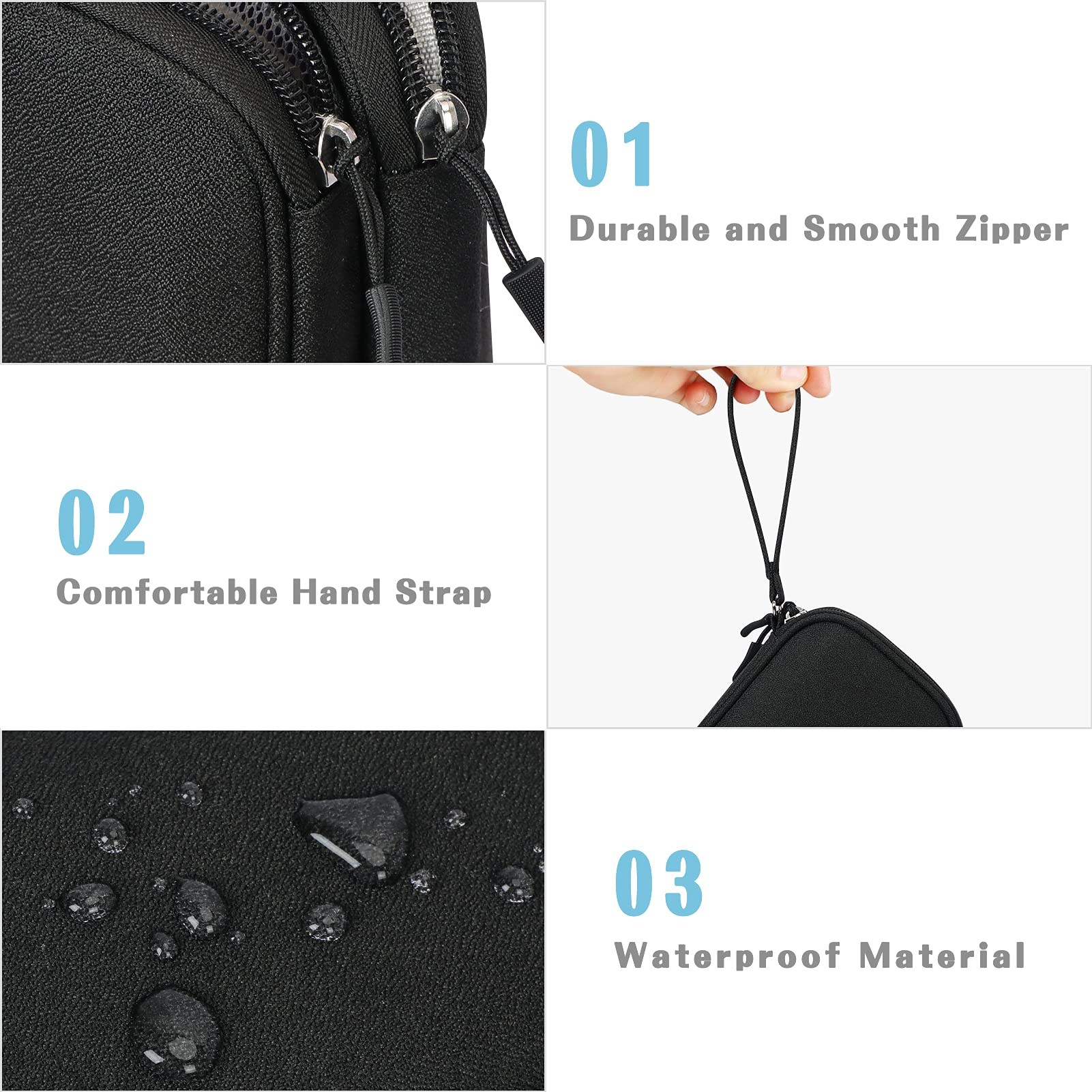 FYY Electronic Organizer, Travel Cable Organizer Bag Pouch Electronic Accessories Carry Case Portable Waterproof Double Layers All-in-One Storage Bag for Cable, Cord, Charger, Phone, Earphone Black