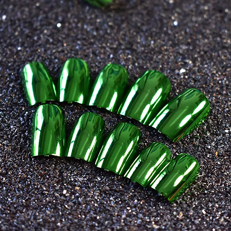 抑圧者名誉振り向くXUTXZKA 24ピースメタリックグリーン偽ネイルフルカバーフェイクネイル人工装飾用のヒントマニキュアツール
