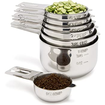 Simply Gourmet Stainless Steel Measuring Cups 7 Piece with 1/8 Cup Coffee Scoop Stainless Steel Measuring Cup Set. Metal Measuring Cups Perfect as Birthday for Mom or Cooks