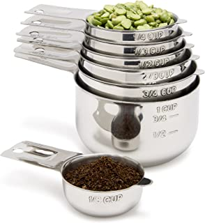 Stainless Steel Measuring Cups 7 Piece with 1/8 Cup Coffee Scoop by Simply Gourmet. Stainless Steel Measuring Cup Set. Metal Measuring Cups Perfect as Birthday or Christmas Gift for Mom or Cooks