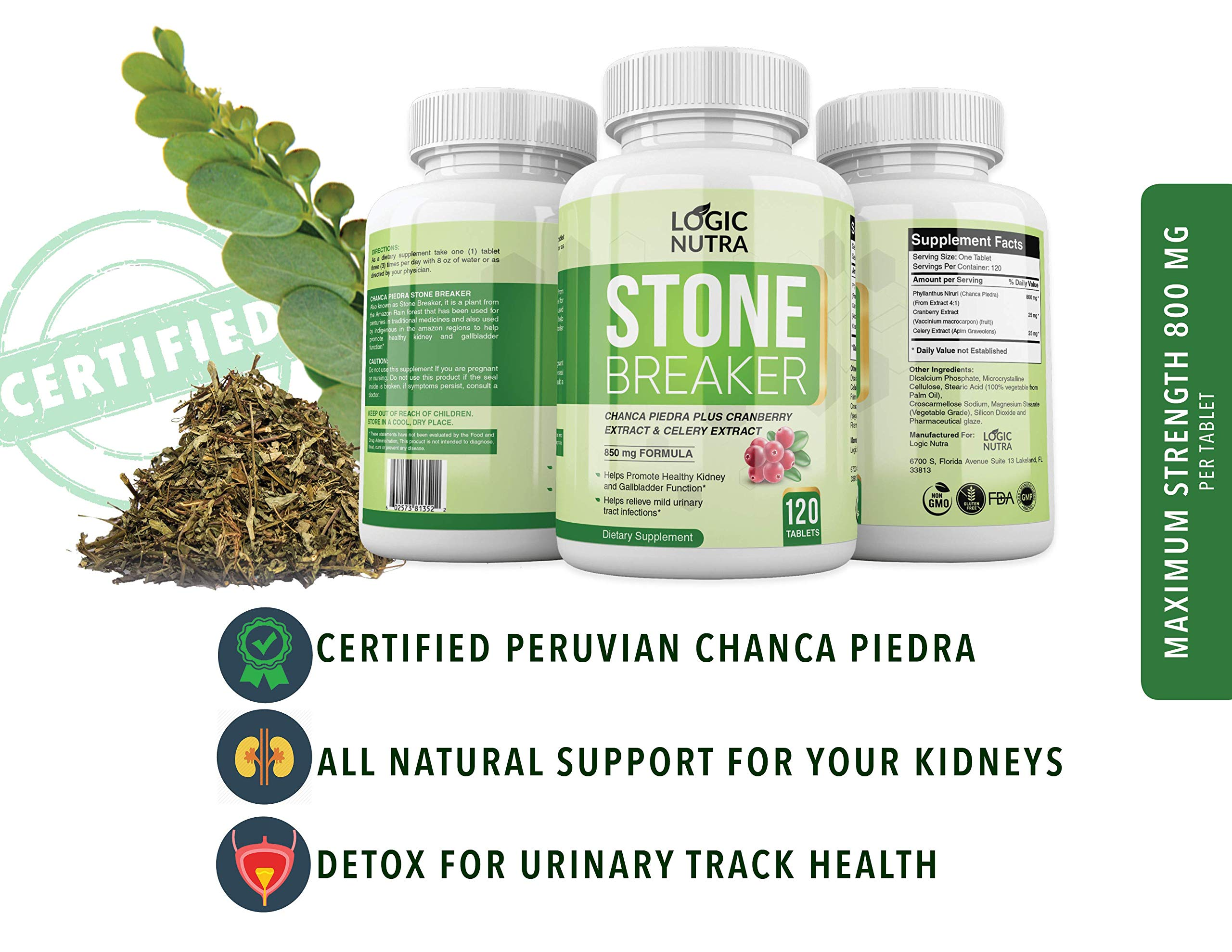 Amazon Com Chanca Piedra Kidney Stone Breaker By Logic Nutra 120 Tablets 800 Mg Each Maximum Strength For Gallbladder Cleanse Urinary Pain Relief Health Personal Care