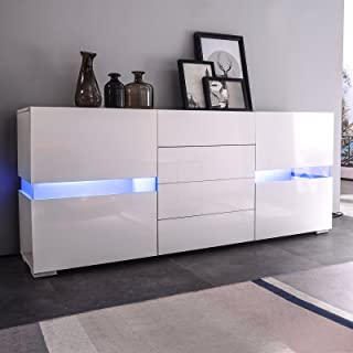 mecor Sideboard Cabinet Buffet w/LED Light, Kitchen LED Storage Cabinet Server Console Table, High Gloss w/ 2 Doors & 4 Drawers White