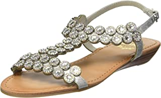 Yellow Box Women's P-Beaming Sandal, Silver, 9 M US