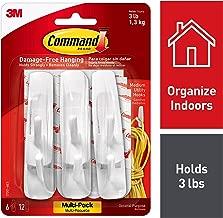 3M Command Plastic Medium Hooks (White, Pack of 6)