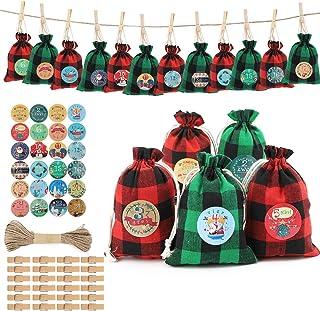 Sacchetti di Gioielli Vintage Partito Sacchetti Regalo Involucro di immagazzinaggio Calendario Dellavvento Sacco Coulisse 24pcs Sacchetti Favore Sacco di Luta Calendario Natalizio