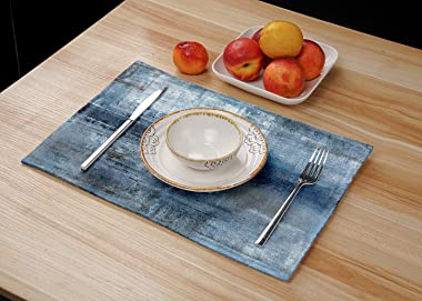Blue and Grey Placemats Set of 4 Modern Abstract Art Placemats Heat Resistant Non-Slip Artwork Dining Placemats Washable Tabl