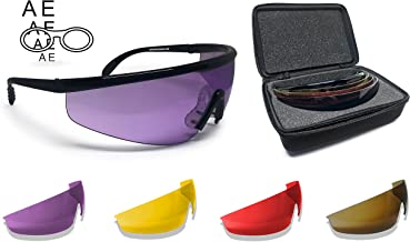 Bertoni Shooting Glasses with 4 Interchangeable Lenses and Carrying Case – AF899 by Bertoni Italy Tactical Protective Safe...