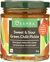 Aamra (Ghaziabad) Homemade Sweet & Sour Green Chili Indian Pickle - 190 grams