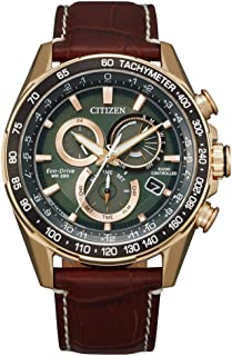 Men's Citizen Eco-Drive Chronograph Brown Leather Strap Watch CB5919-00X