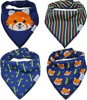 Baby Bandana Drool Bibs   4 Pack   Boys and Girls 3 - 24 Months   Drool & Teething Bibs   Lil Lads   Red Panda Theme