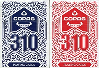 Copag 310 Playing Cards Blue/Red Dual-Deck Pack, Poker Size/Regular Index, True Linen Plastic Coated Finish