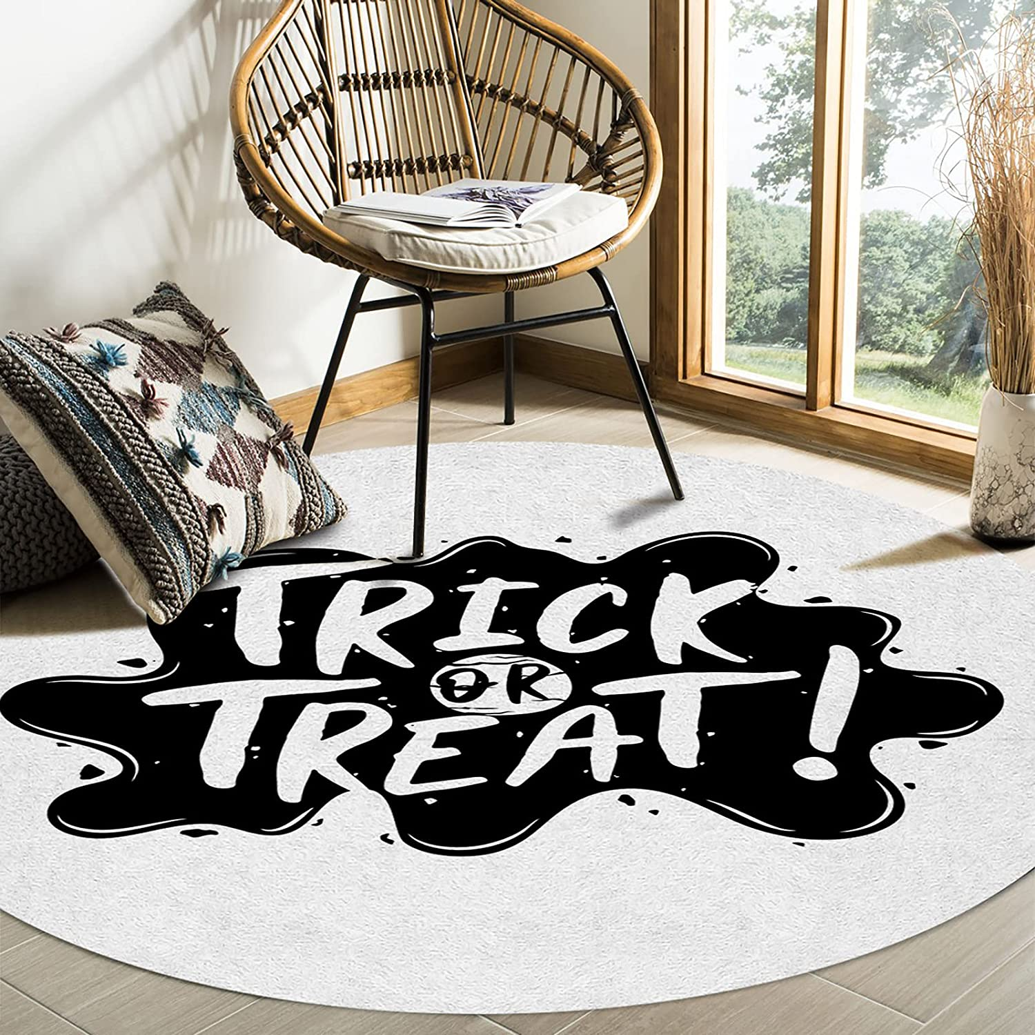 HELLOWINK Round 35% OFF Area Rugs 5ft OR Halloween Treat Non-Shed Trick Super popular specialty store