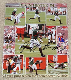 Devin Hester Signed Photo - 8x10 2004 Punt Return for TD - Autographed College Photos