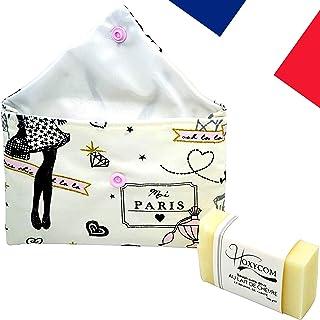 Jabón natural de Leche de Cabra hecho a mano Manteca de karité - Aceite de coco - saponificado a mano en Francia - Anti acné Puntos negros - Alivia la psoriasis y el eczema - Con bolsa Paris
