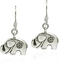 Thai Karen Hill Tribe Fine Silver Mountain Elephant Dangle Earrings