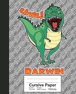 Cursive Paper: DARWIN Dinosaur Rawr T-Rex Notebook (Weezag Cursive Paper Notebook)