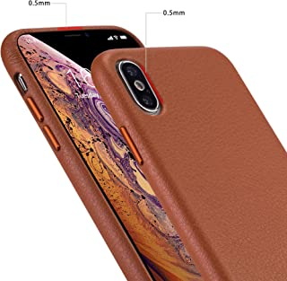 iPhone x Case iPhone Xs Case Rejazz Anti-Scratch iPhone x Cover iPhone Xs Cover Genuine Leather Apple iPhone Cases for iPhone x/xs (5.8 Inch)(Brown)