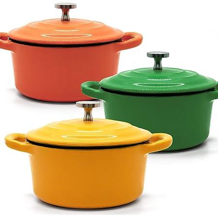 RJ Legend 8.5 oz Cast Iron Pot, Enameled Cast Iron Mini Pot, Round Mini Cocotte, 5.5-Inch Cast Iron Pot with Lid, 3-Piece Cast Iron Set - Orange - Green - Yellow