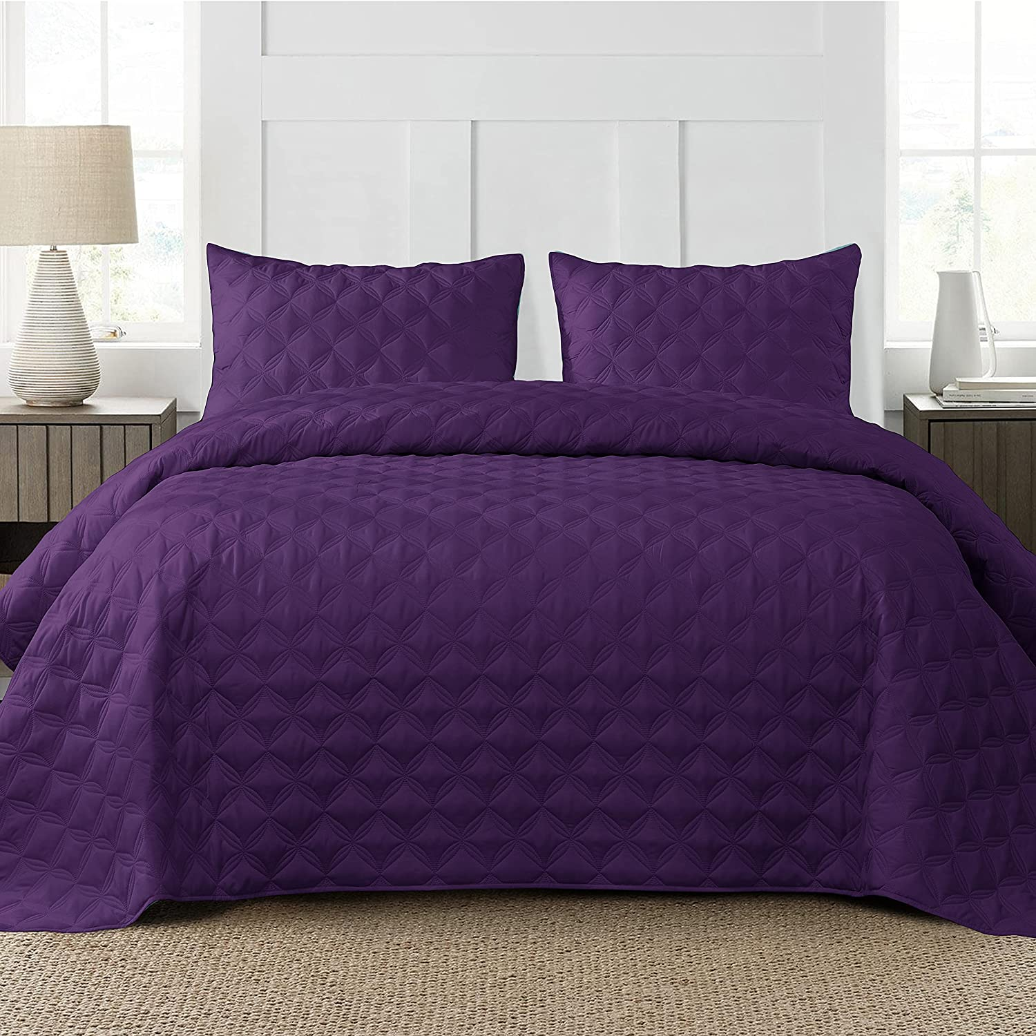 Exclusivo Mezcla 3-Piece Queen Size Max 75% Max 85% OFF OFF Pillow Quilt with Set Shams