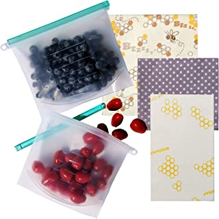 Reusable Beeswax Food Wrap, and Silicone Food Storage Bags, Organic Cotton Paper Wrap, Eco friendly, Plastic Wrap Alternative, Washable, Sustainable, Assorted Zero Waste 3 Pack, Small, Medium, Large