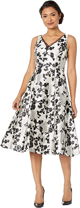 Floral Metallic Jacquard Tea-Length Dress