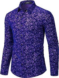 JOGAL Men's Floral Vintage Velvet Slim Fit Long Sleeve Casual Button Down Shirt