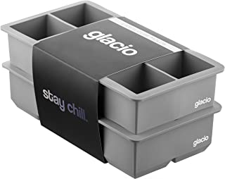 glacio Ice Cube Trays Silicone - Large Ice Tray Molds for making 8 Giant Ice Cubes for Whiskey - 2 Pack - Grey