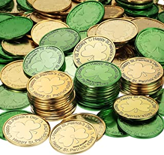 Chuangdi Lucky Plastic Coin St. Patrick`s Day Coins Shamrock Coins Green and Gold Coins St. Patrick`s Day Party Favor (200)