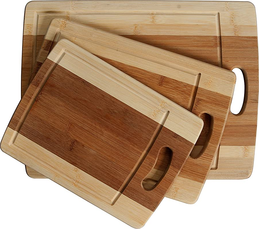 CC Boards 3 Piece Bamboo Cutting Board Set Wooden Butcher Block Boards With Juice Groove And Handle Slice Veggies Bread Or Meat Great For Serving Cheese And Crackers